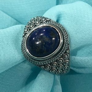 Sterling silver/ blue lapis ring